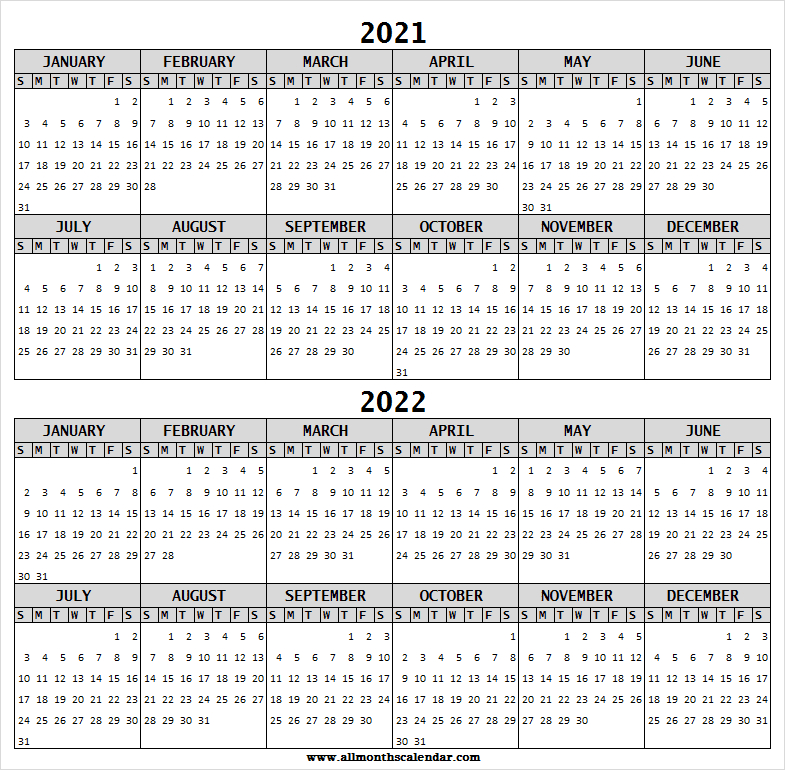 2021-2022 Calendar Free Printable Template - Two Year with regard to Planner 2022 Printable Goal Image