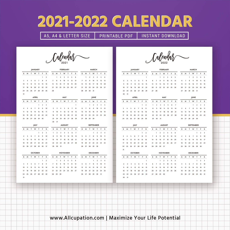 2021-2022 Calendar, Printable Calendar, Planner Design intended for 2022 Planner Printable A5 Diy Photo