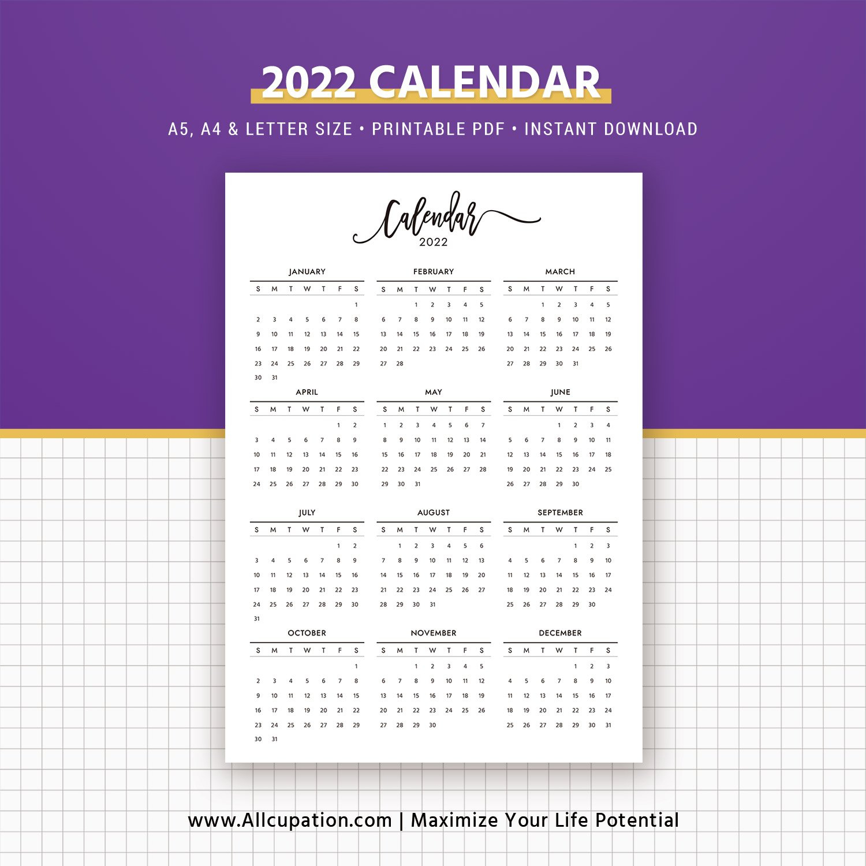 2021-2022 Calendar, Printable Calendar, Planner Design with Free Printable Budget Planner 2022