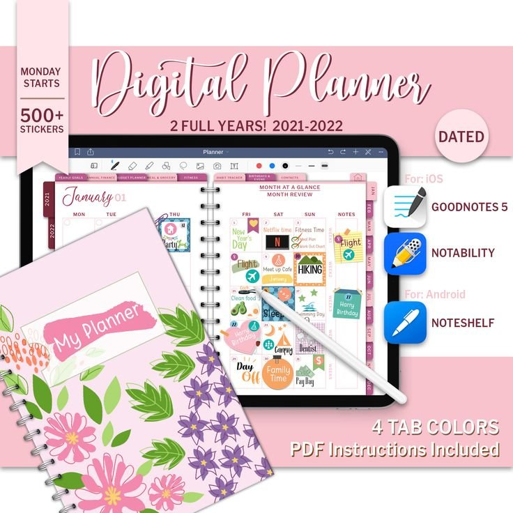 2021-2022 Colorful Digital Planner Goodnotes Android Ipad within Free Printable Planner Stickers 2022