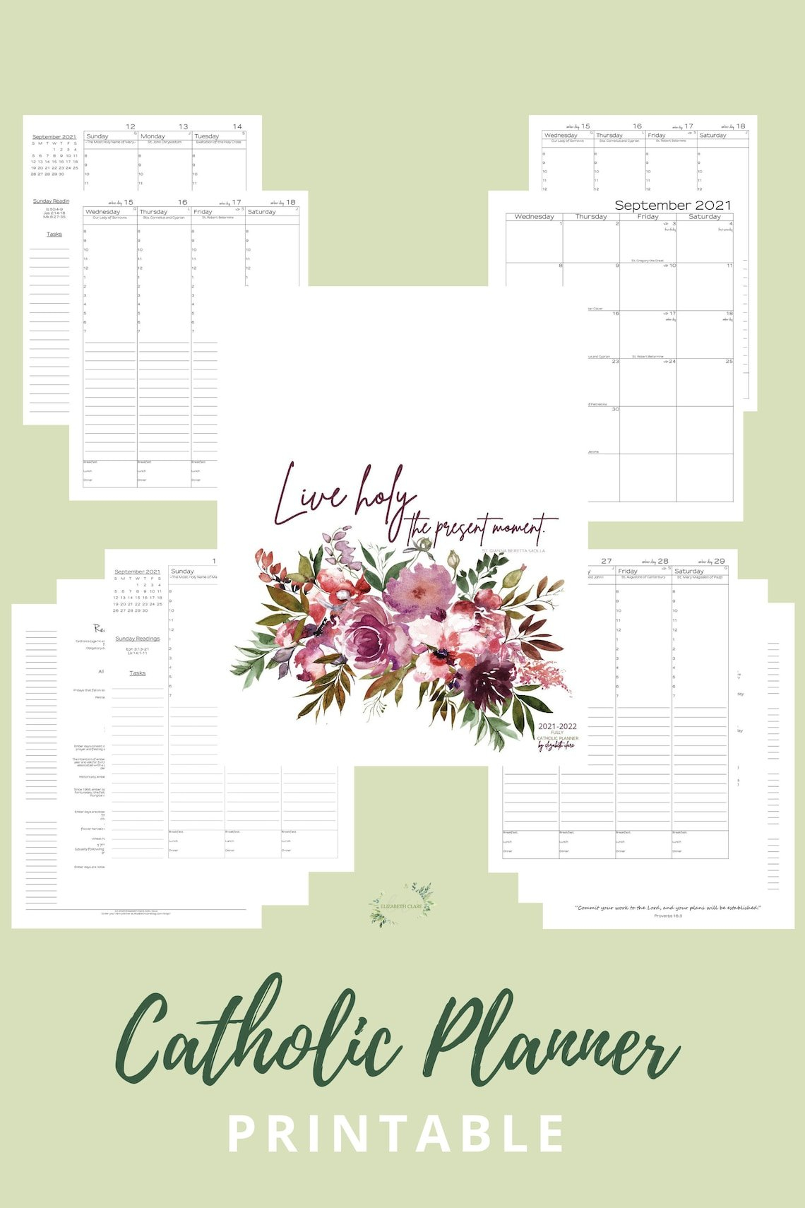 2021 2022 Monthly Catholic Planner Printable: Daily with 2022 Daily Planner Printable