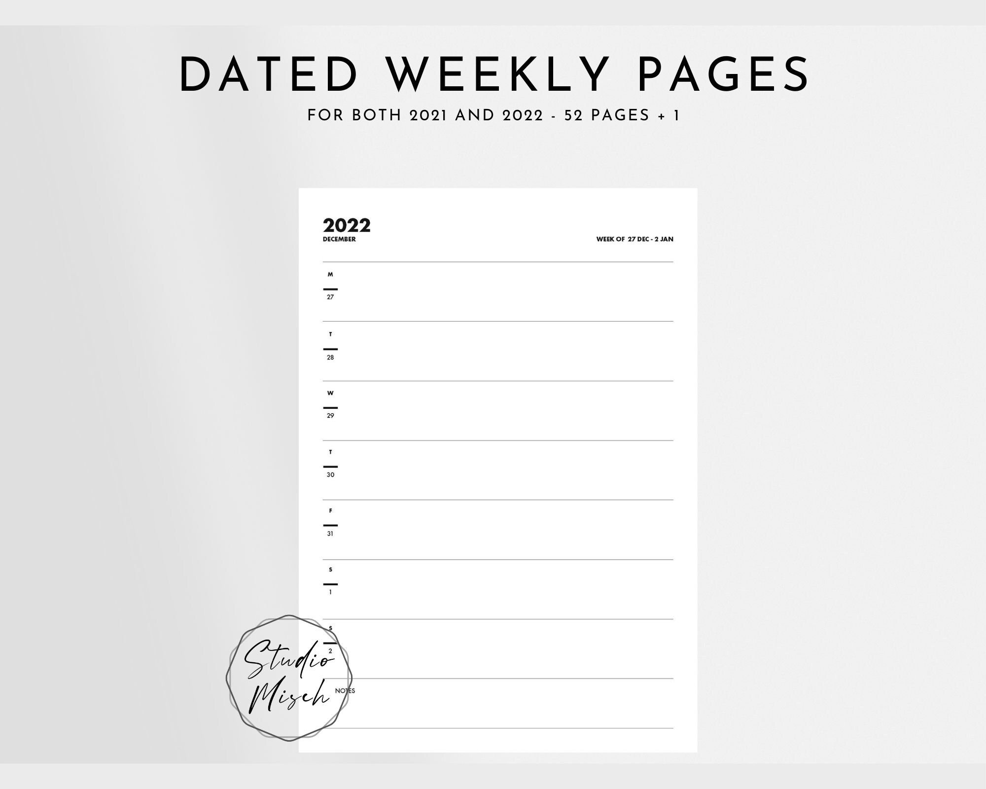 2021 2022 Planner Printable Monthly Calendar Dated Page   Etsy pertaining to Printable Monthly Planner Pages 2022 Photo