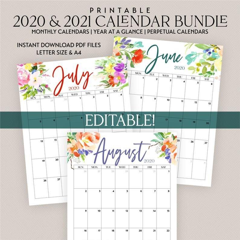2021 2022 Printable Editable Calendar Bundle Includes with regard to Free Printable Budget Planner 2022
