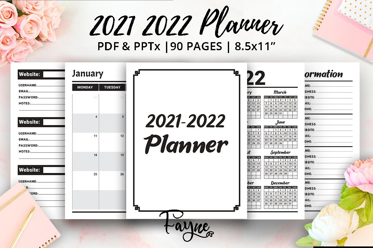 2021 2022 Two Years Planner | Calendar | Ready Kdp intended for Free Printable Planner Stickers 2022 Graphics