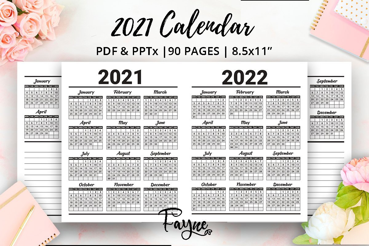 2021 2022 Two Years Planner | Calendar | Ready Kdp with regard to Free Printable Planner Stickers 2022 Graphics