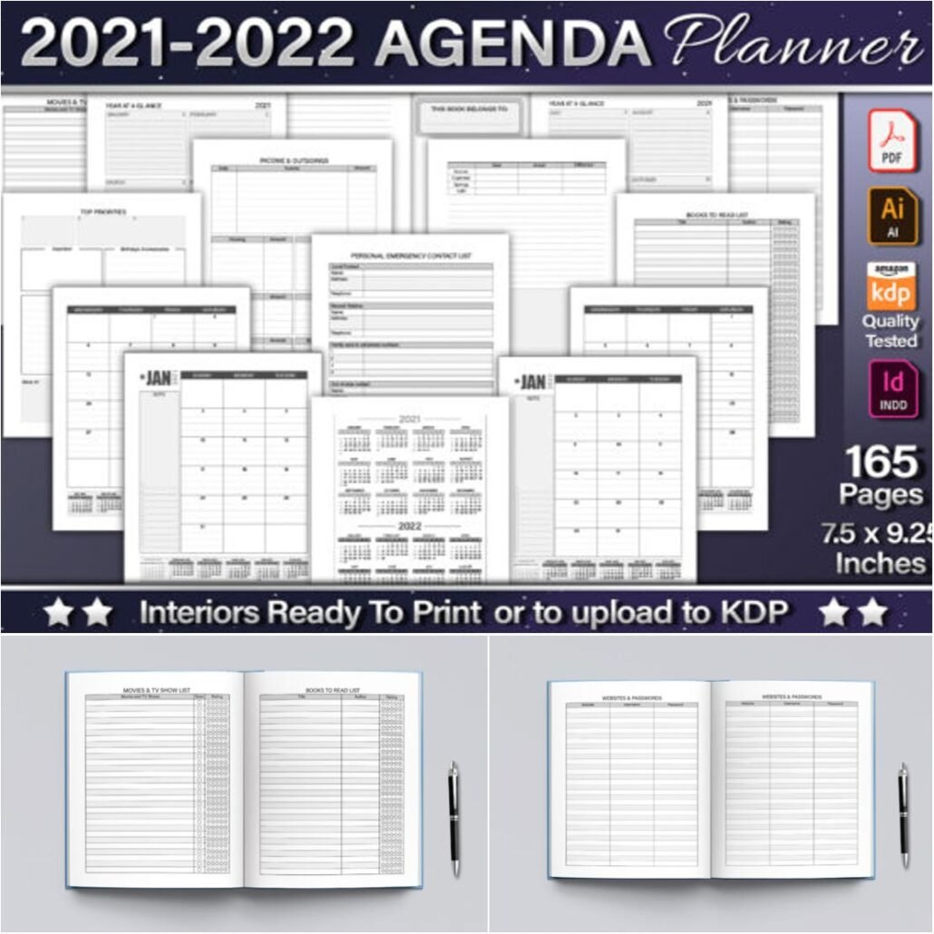 2021-22 Agenda Planner   Free Download with Free Printable Budget Planner 2022 Image
