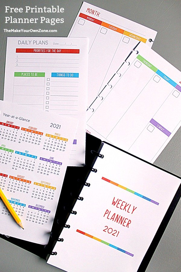 2021 Free Printable Planner Pages - The Make Your Own Zone within How To Make Planner Printables Graphics