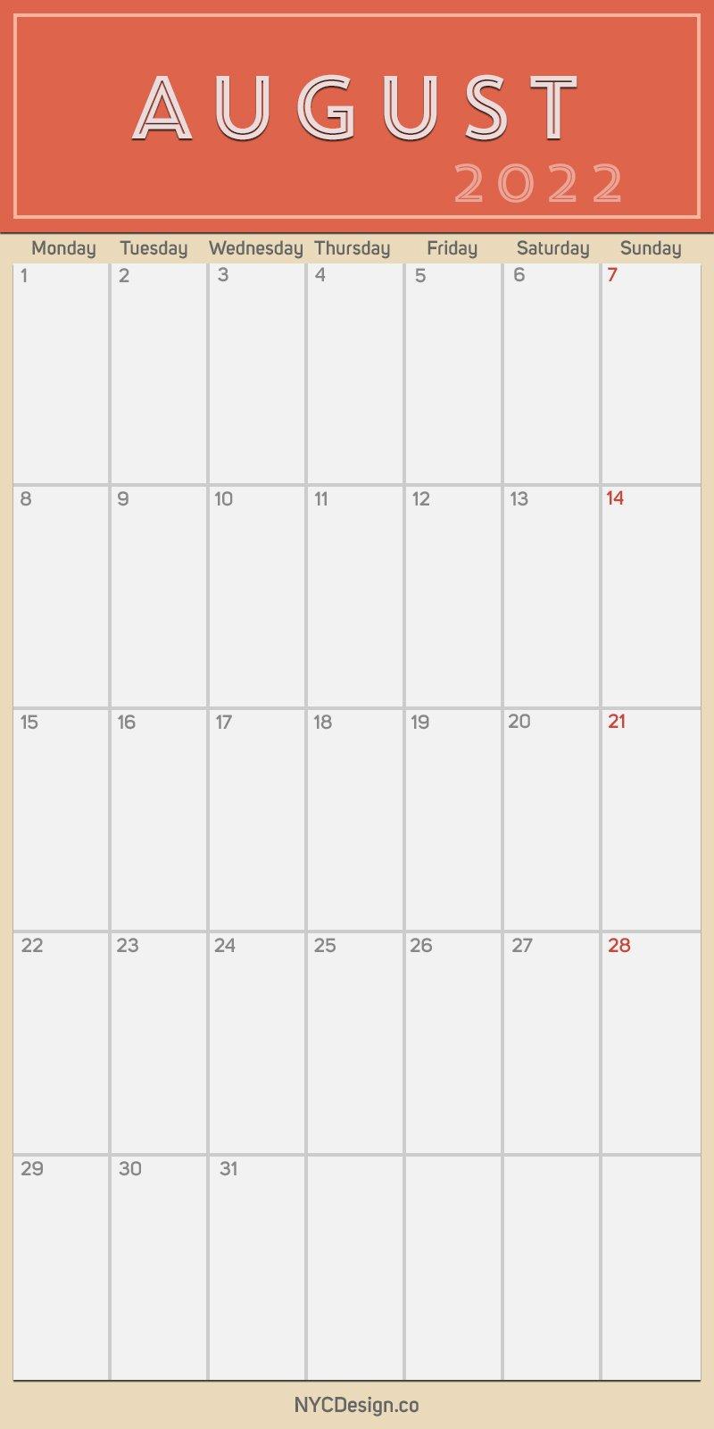 2022 August - Monthly Calendar, Planner, Printable Free throughout Printable Monthly Calendar August 2022