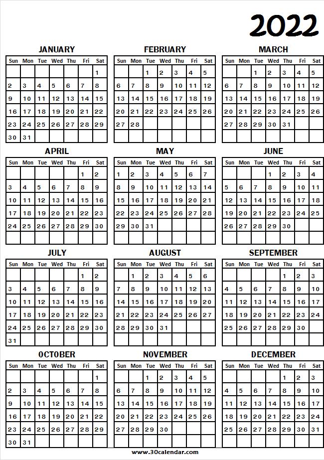 2022 Calendar A4 Size   Printable Calendar January To intended for January 2022 Calendar Half Page Print Photo