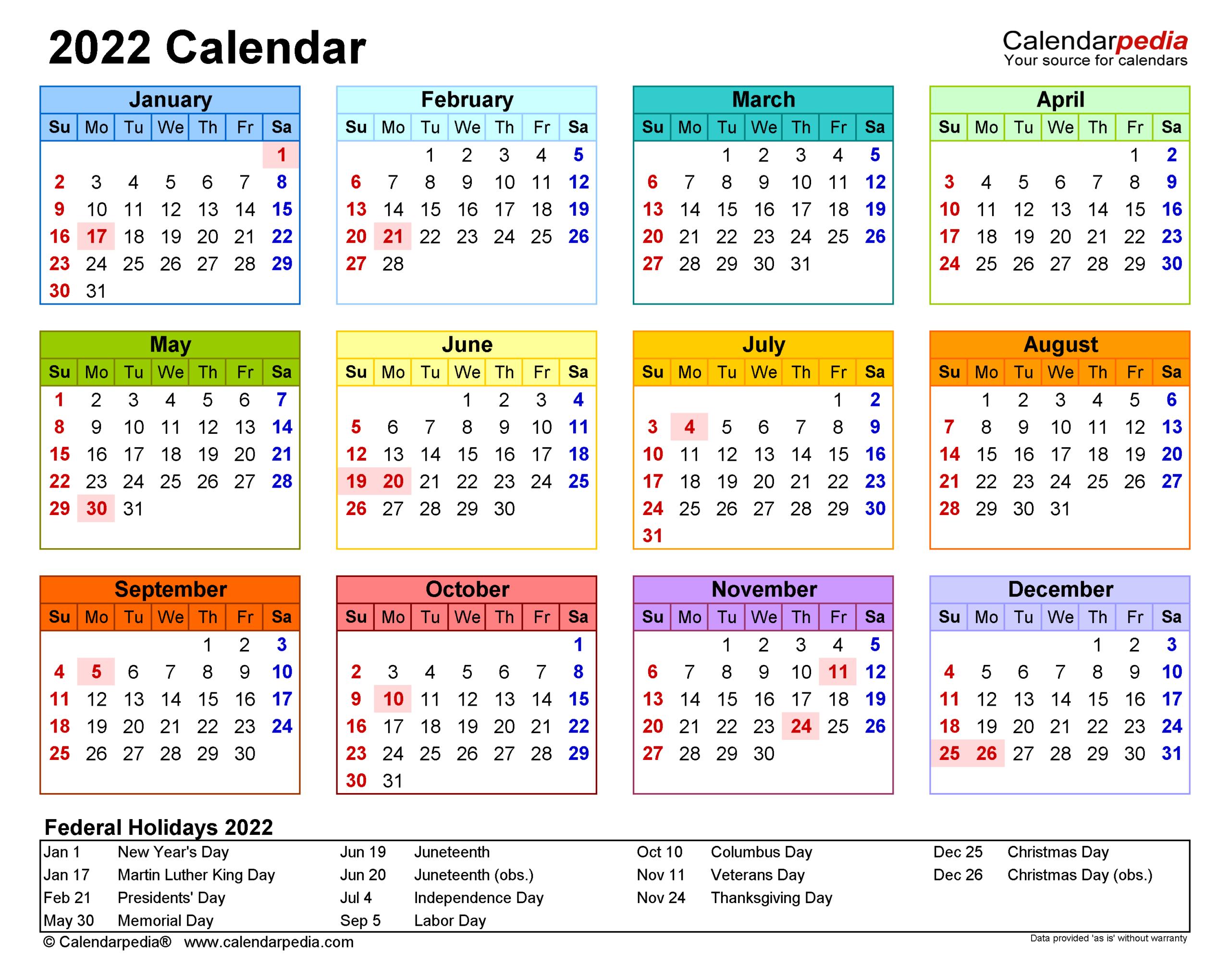 2022 Calendar - Free Printable Excel Templates - Calendarpedia regarding Free Printable Monthly Planner 2022 Photo