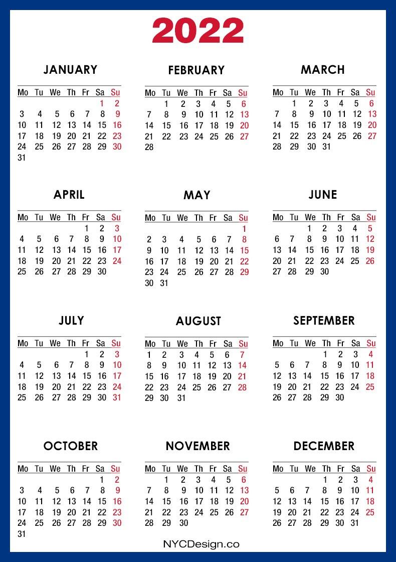 2022 Calendar Printable Free, Blue - Monday Start with regard to 2022 Weekly Planner Printable