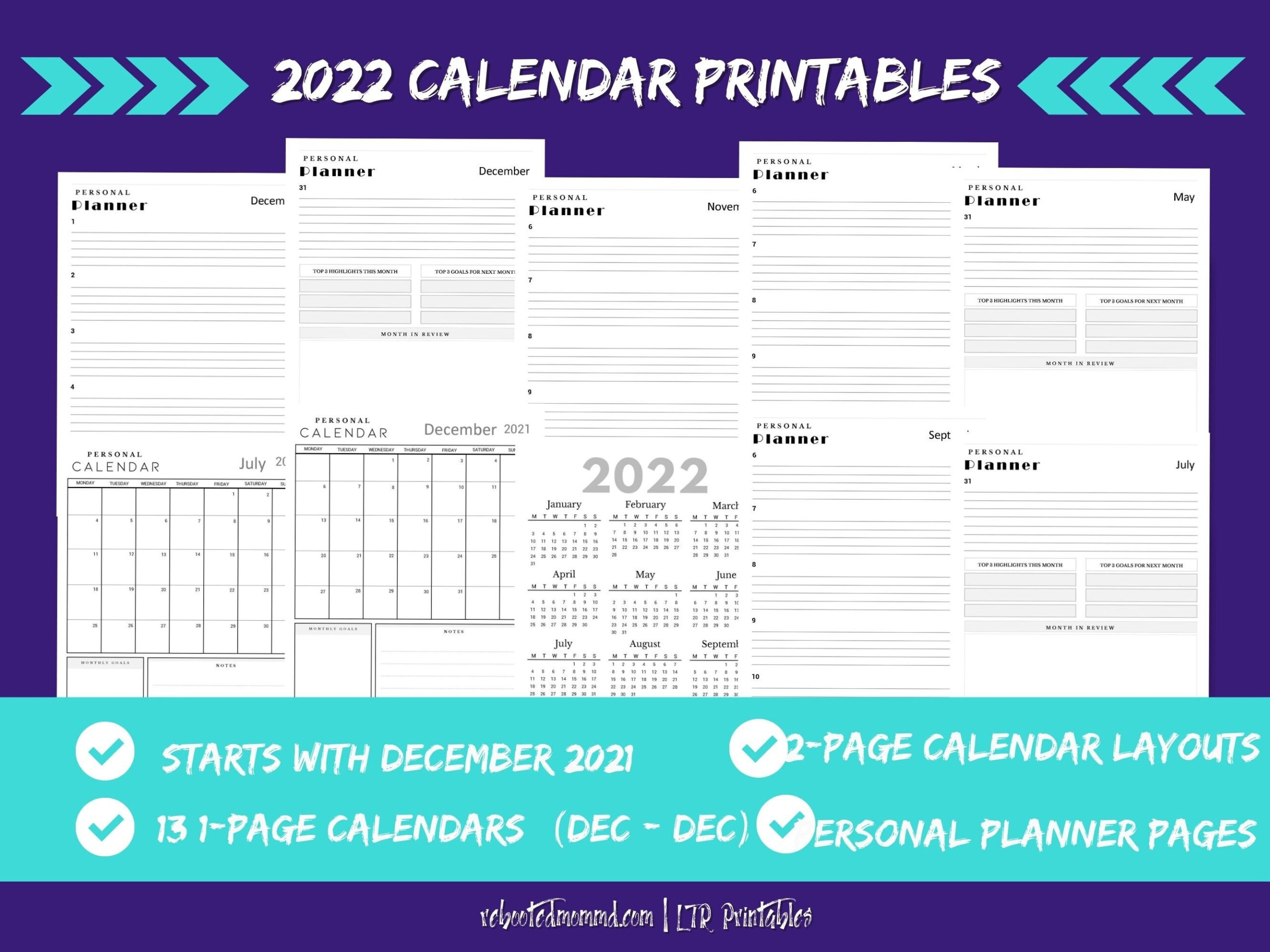 2022 Calendar Printable Pages Monthly Calendar 2022   Etsy within Printable Monthly Planner Pages 2022 Photo