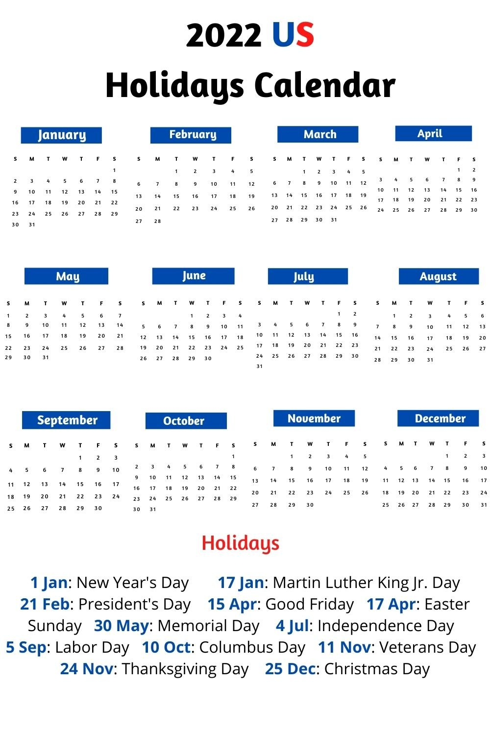 2022 Calendar With Holidays, Festivals | Calendar 2022 with Printable Day Planner 2022