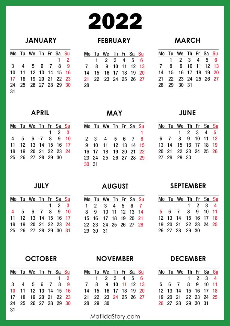 2022 Calendar With Holidays, Printable Free, Green with Free Green Printable Daily Planner 2022 Pdf