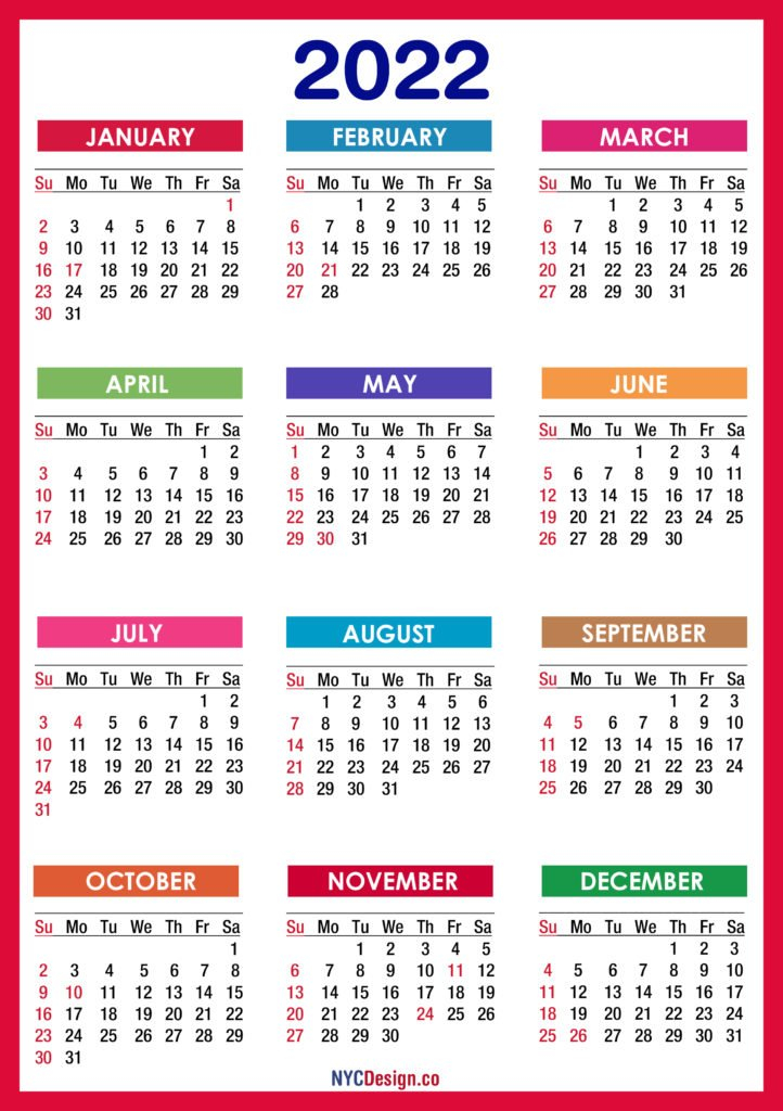2022 Calendars - Nycdesign.co | Calendars Printable Free with regard to Free Printable 2022 Planner With Holidays Graphics