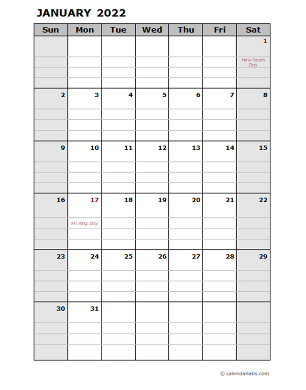 2022 Daily Planner Calendar Template - Free Printable within Printable Monthly Planner Pages 2022 Photo