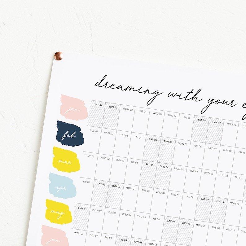 2022 Dream Planner Year Planner 2022 Calendar Horizontal for 2022 Lifestyle Planner Calendar