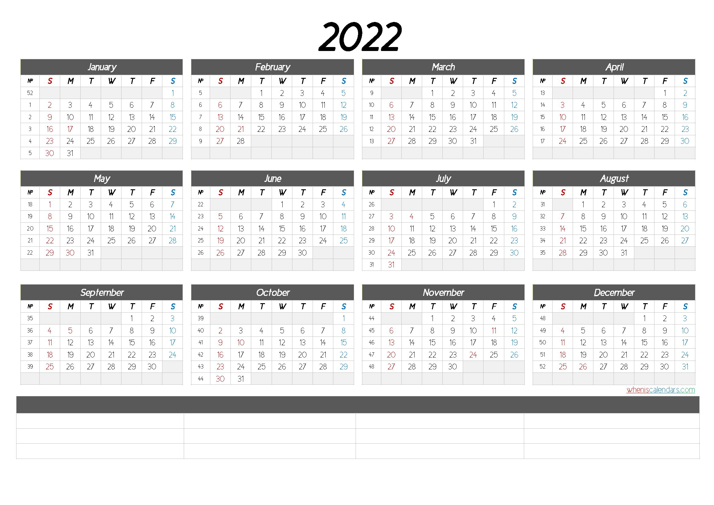 2022 Free Printable Yearly Calendar (6 Templates) - Free in Free Printable Monthly Planner 2022