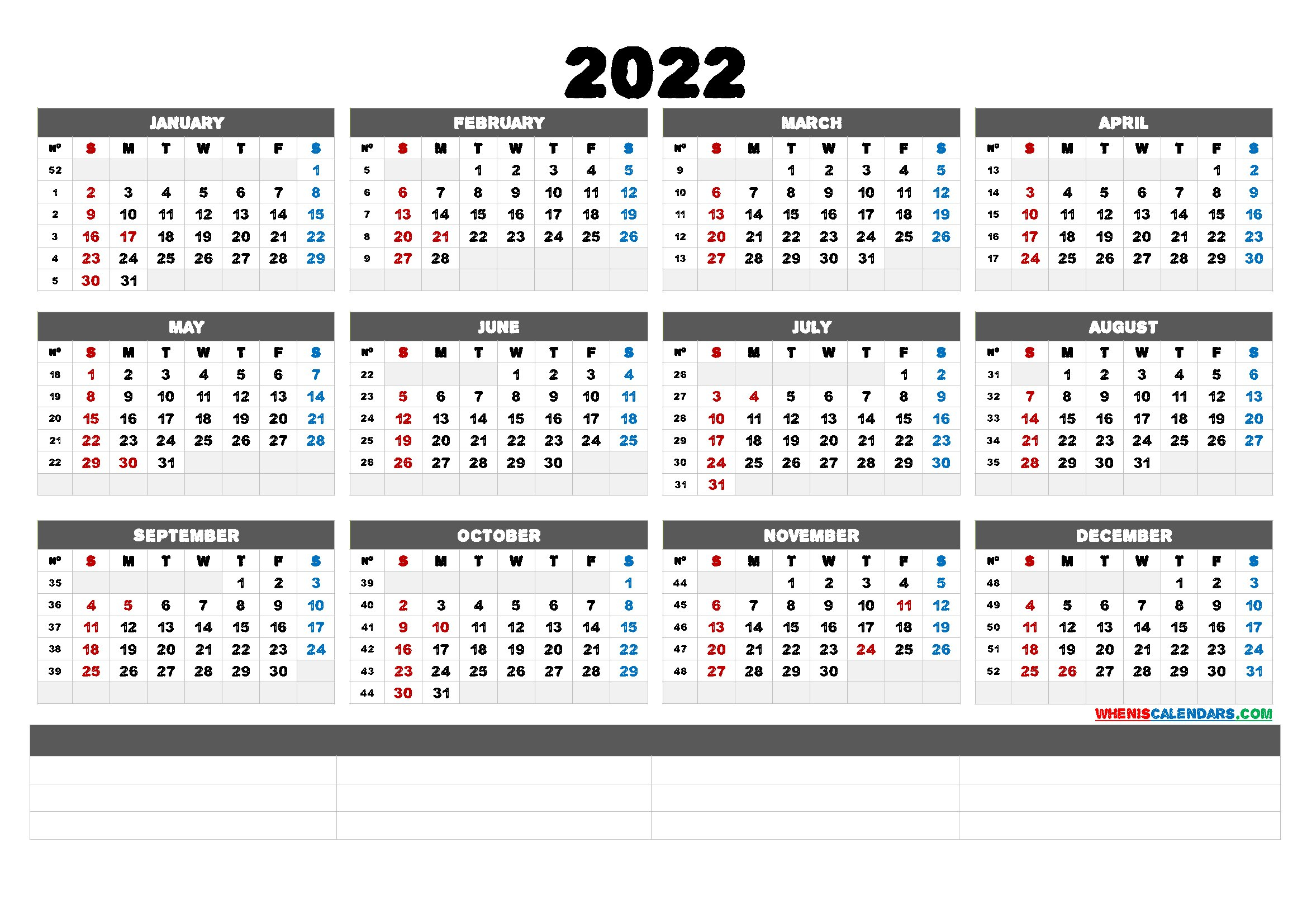2022 Free Printable Yearly Calendar (6 Templates) - Free throughout Free Printable 2022 Planner Image