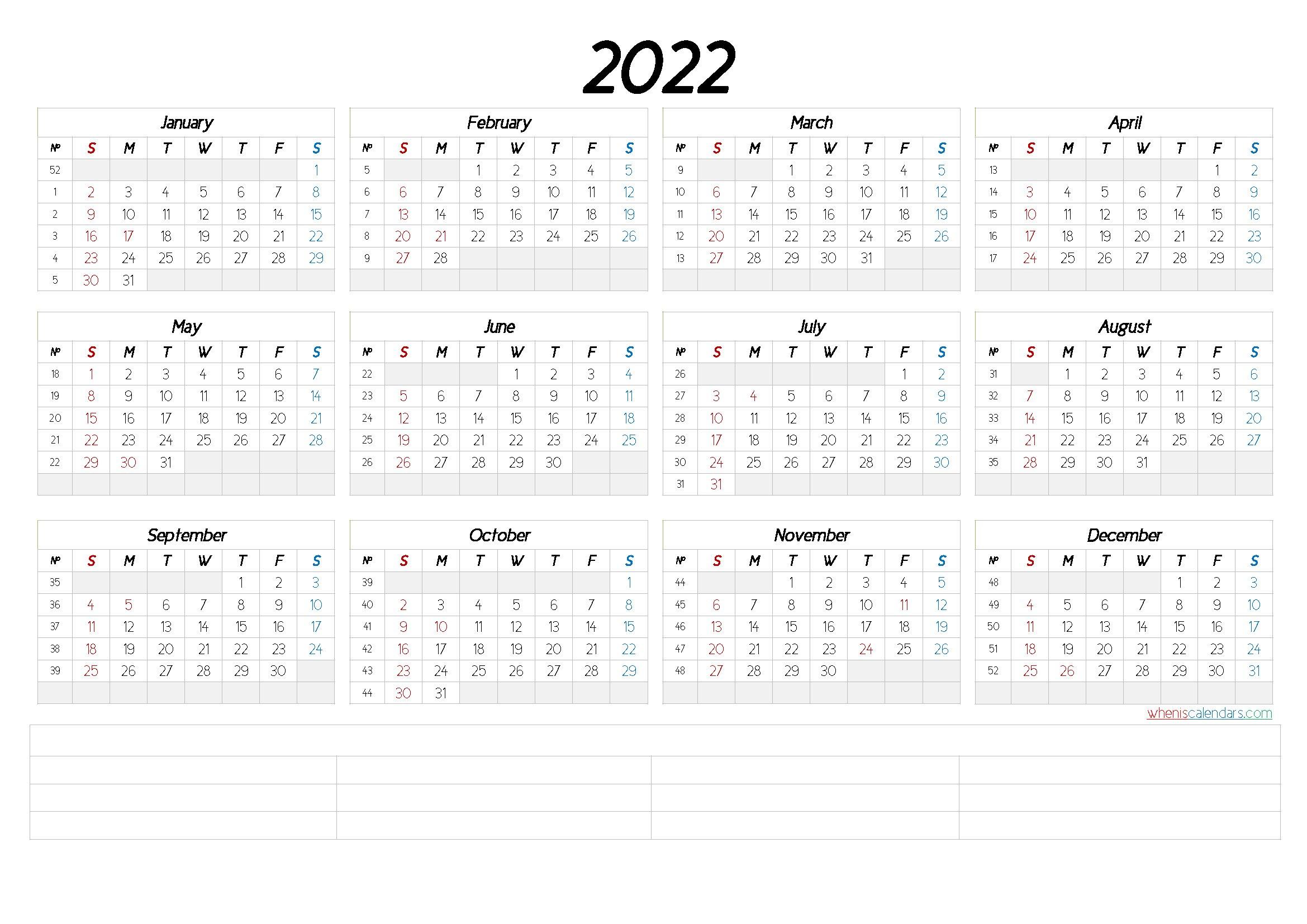 2022 Free Printable Yearly Calendar With Week Numbers intended for Free Printable 2022 September Calendar Image