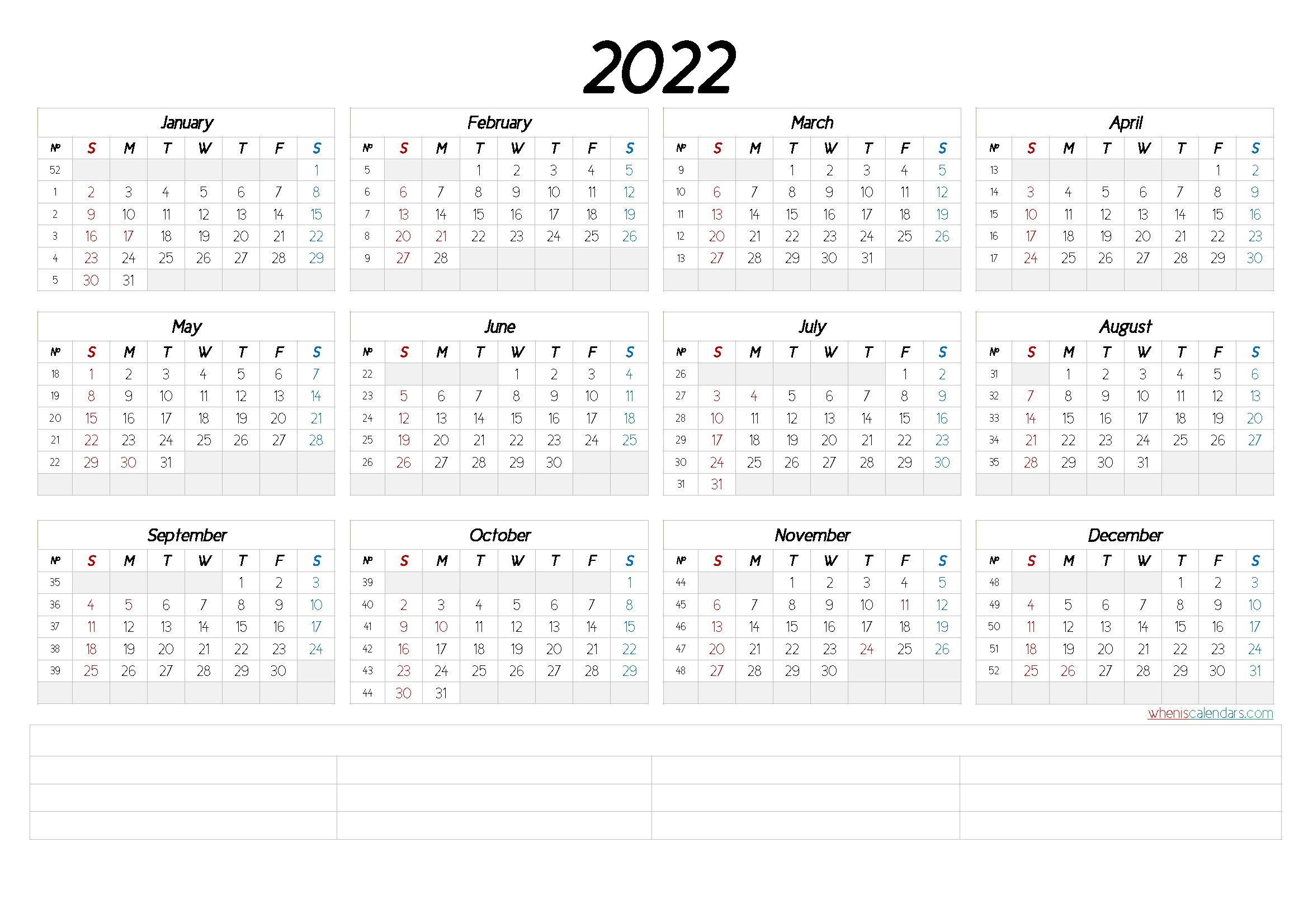 2022 Free Printable Yearly Calendar With Week Numbers within Free Printable Monthly Planner 2022