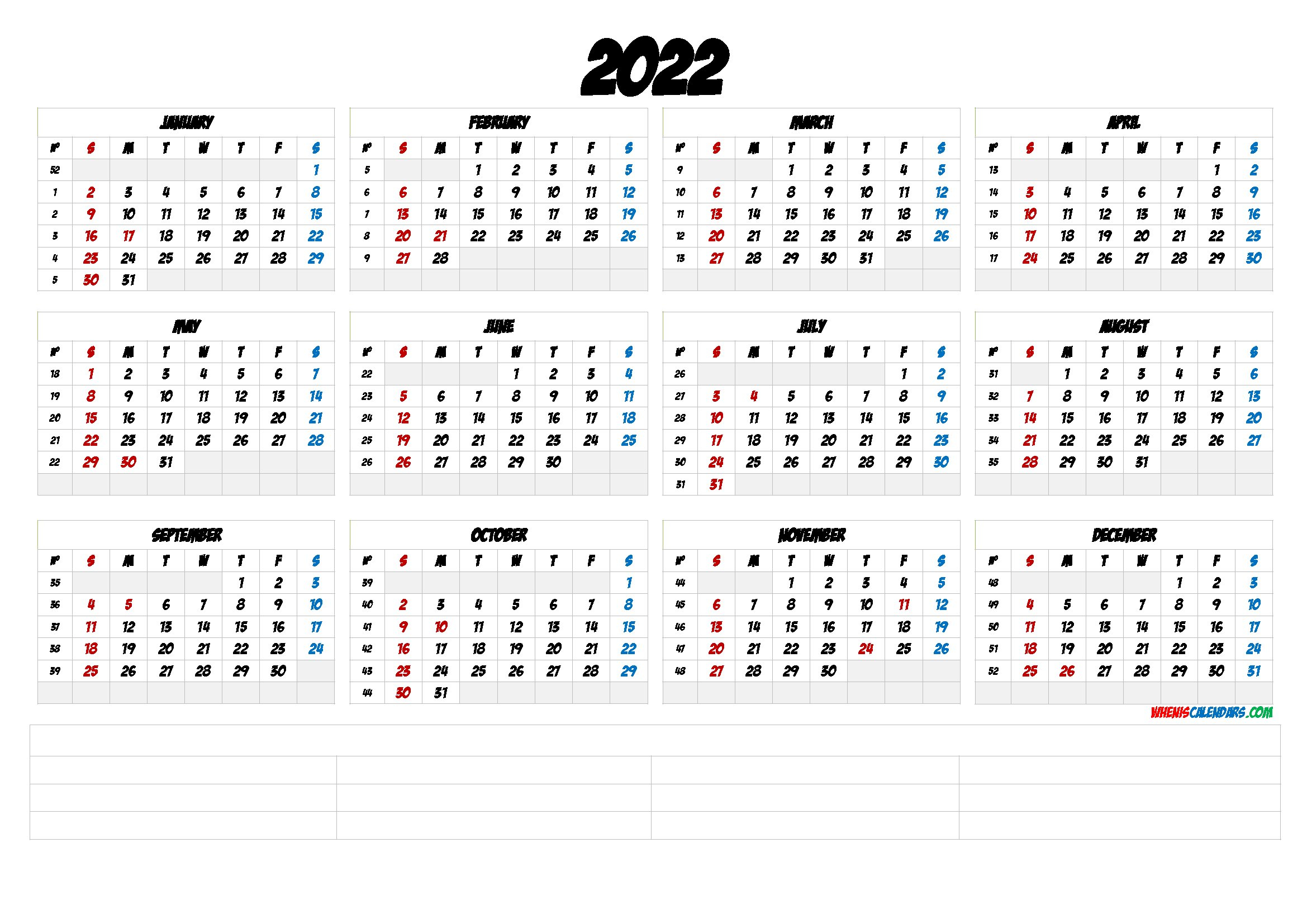 2022 Free Printable Yearly Calendar With Week Numbers within Yearly Planner 2022 Printable Free