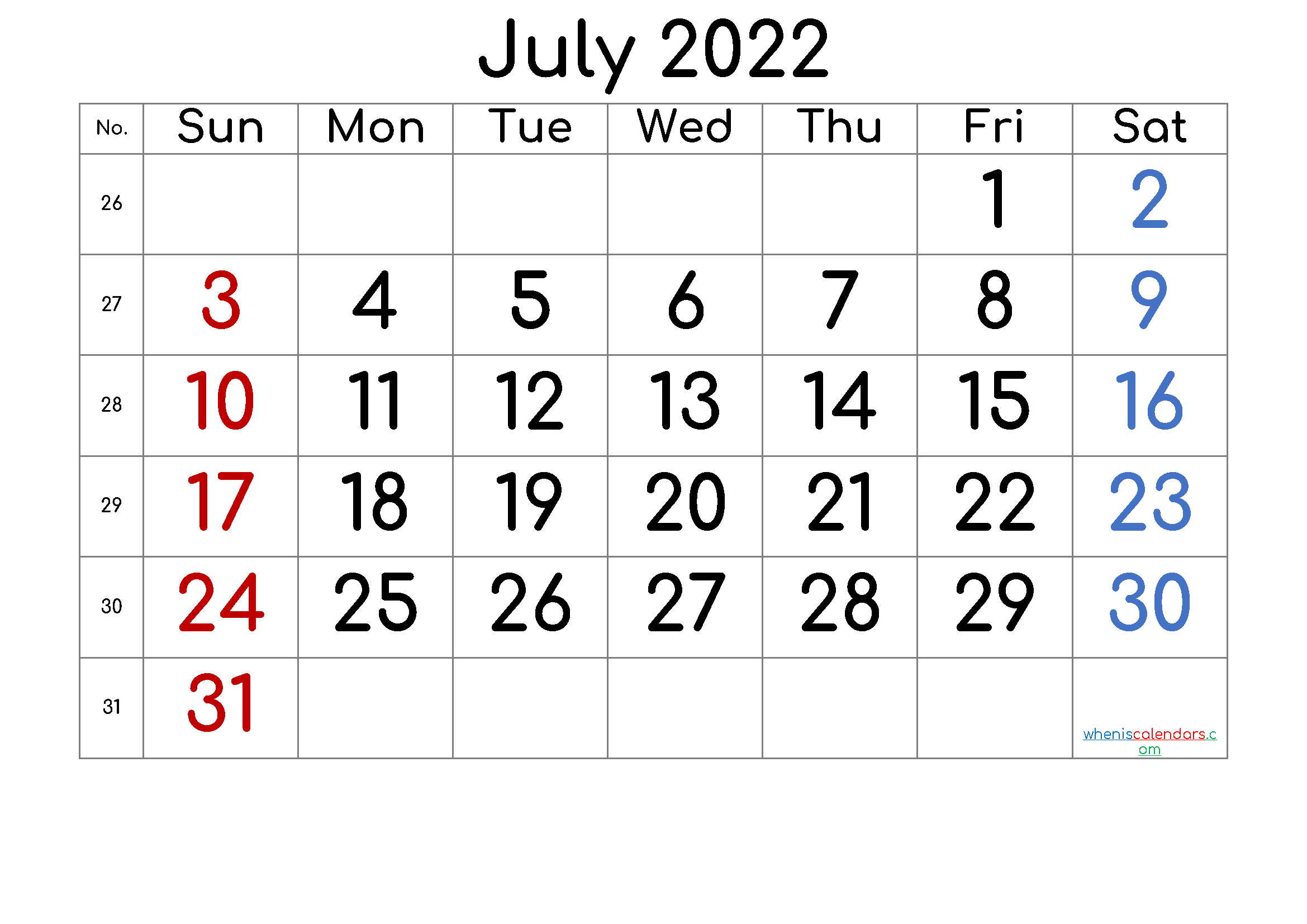 2022 July Free Printable Calendar - 6 Templates - Free intended for Blank Calendar Template July 2022 Image