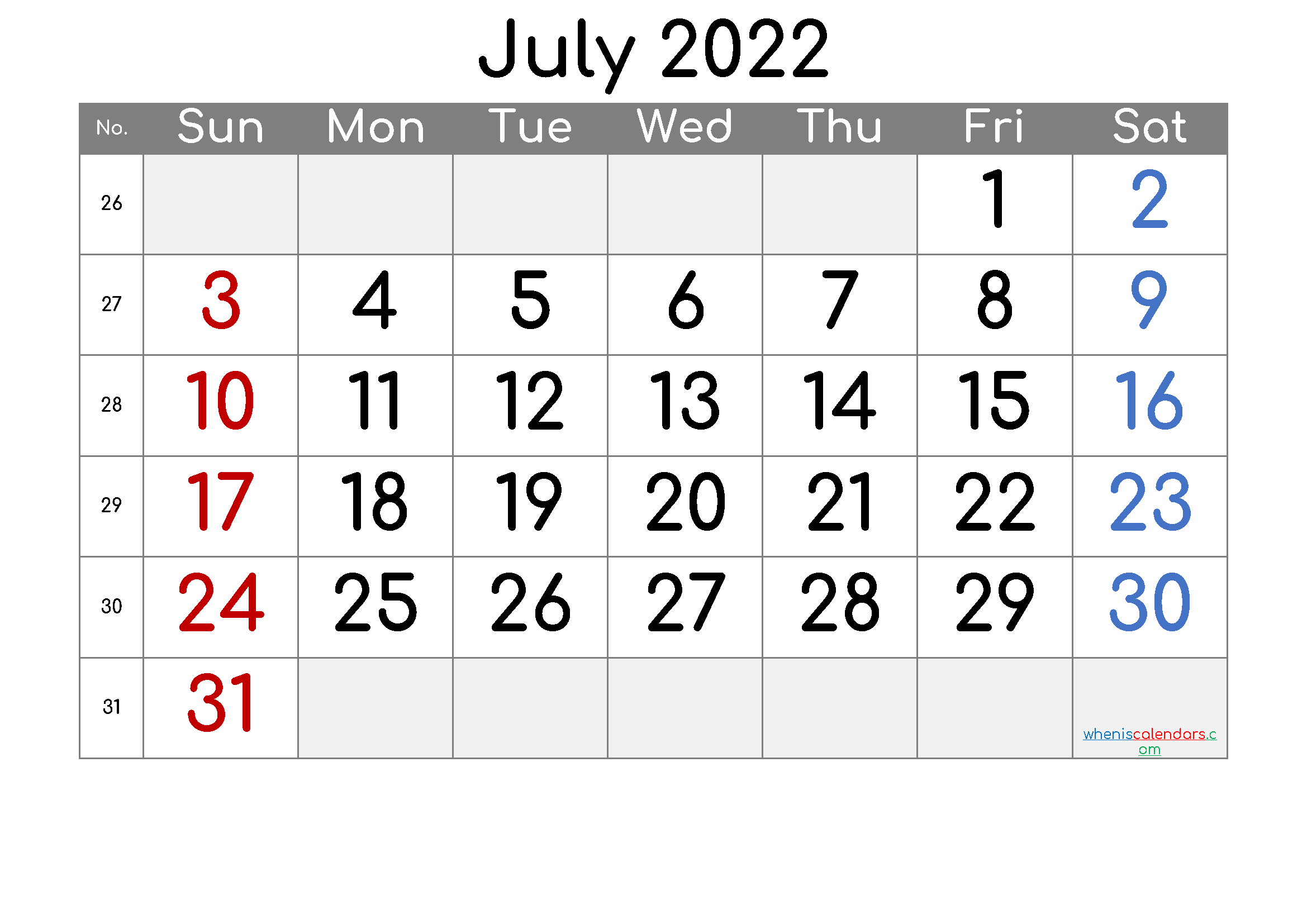2022 July Free Printable Calendar - 6 Templates - Free with Print July 2022 Calendar Graphics