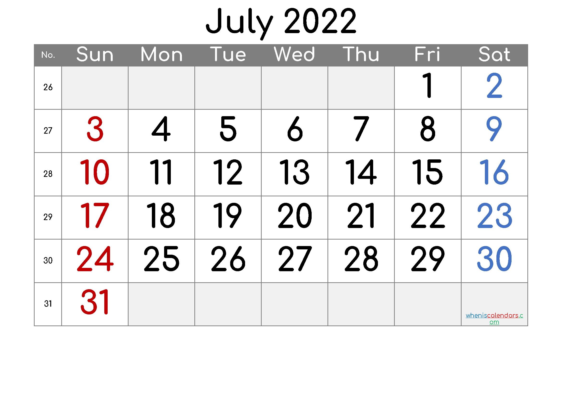 2022 July Free Printable Calendar - 6 Templates - Free with Printable 2022 July Calendar Image