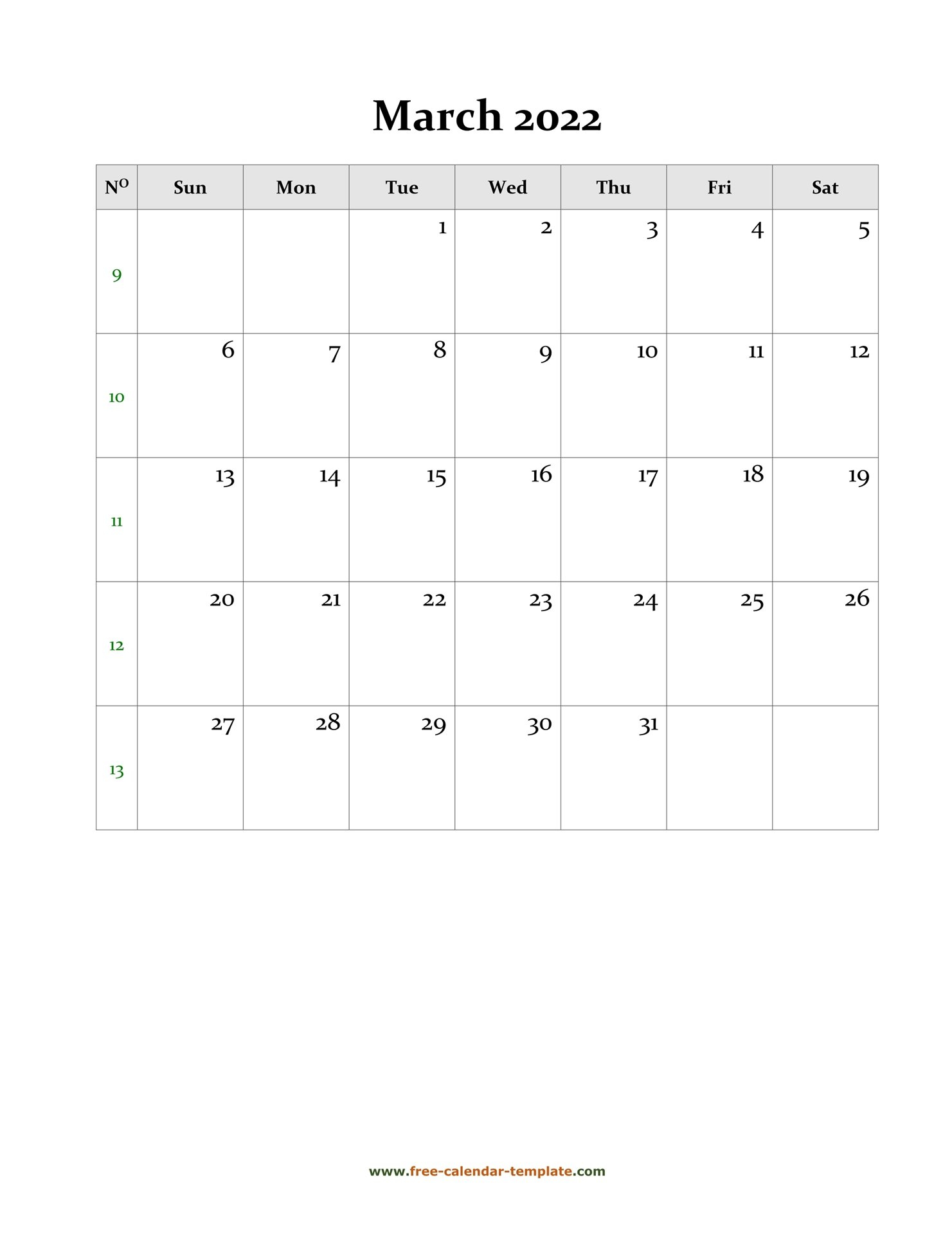 2022 March Calendar (Blank Vertical Template) | Free with regard to March 2022 Calendar Template Image
