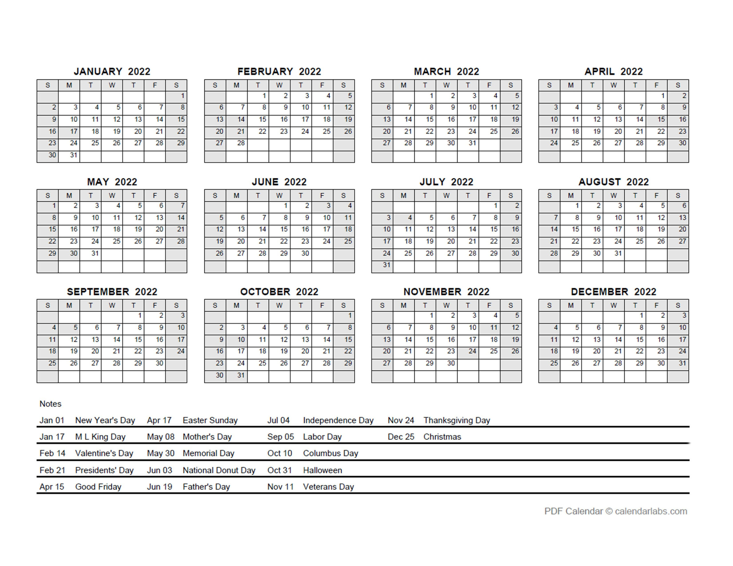 2022 Pdf Yearly Calendar With Holidays - Free Printable in Yearly Planner 2022 Printable Free Photo
