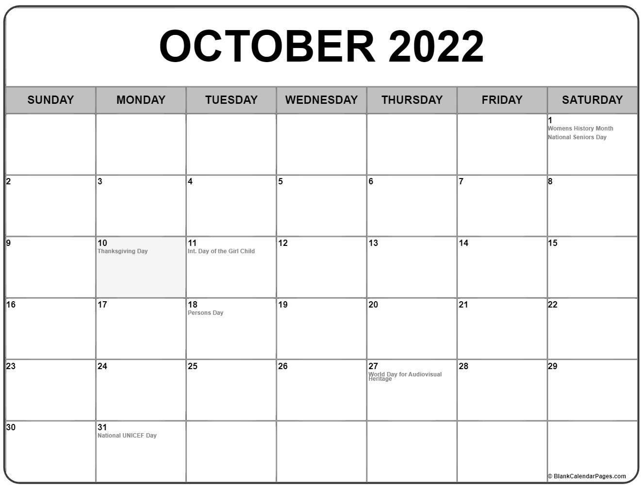 2022 Printable Calendar Canada   Printable Calendar 2021 in October 2022 Planner Calendar Graphics