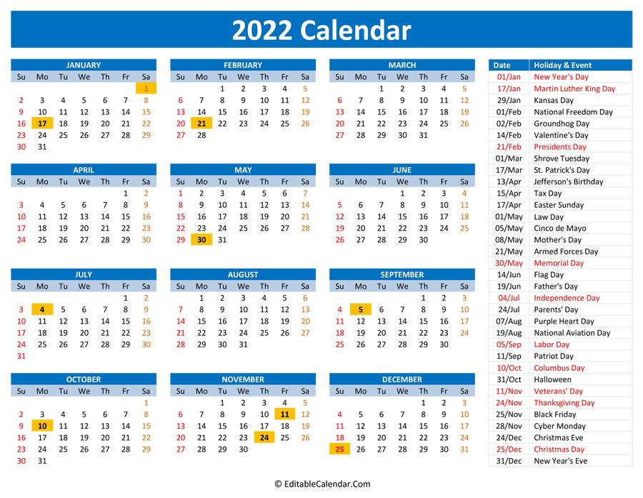 2022 Printable Calendar With Holidays for Free Printable 2022 Planner