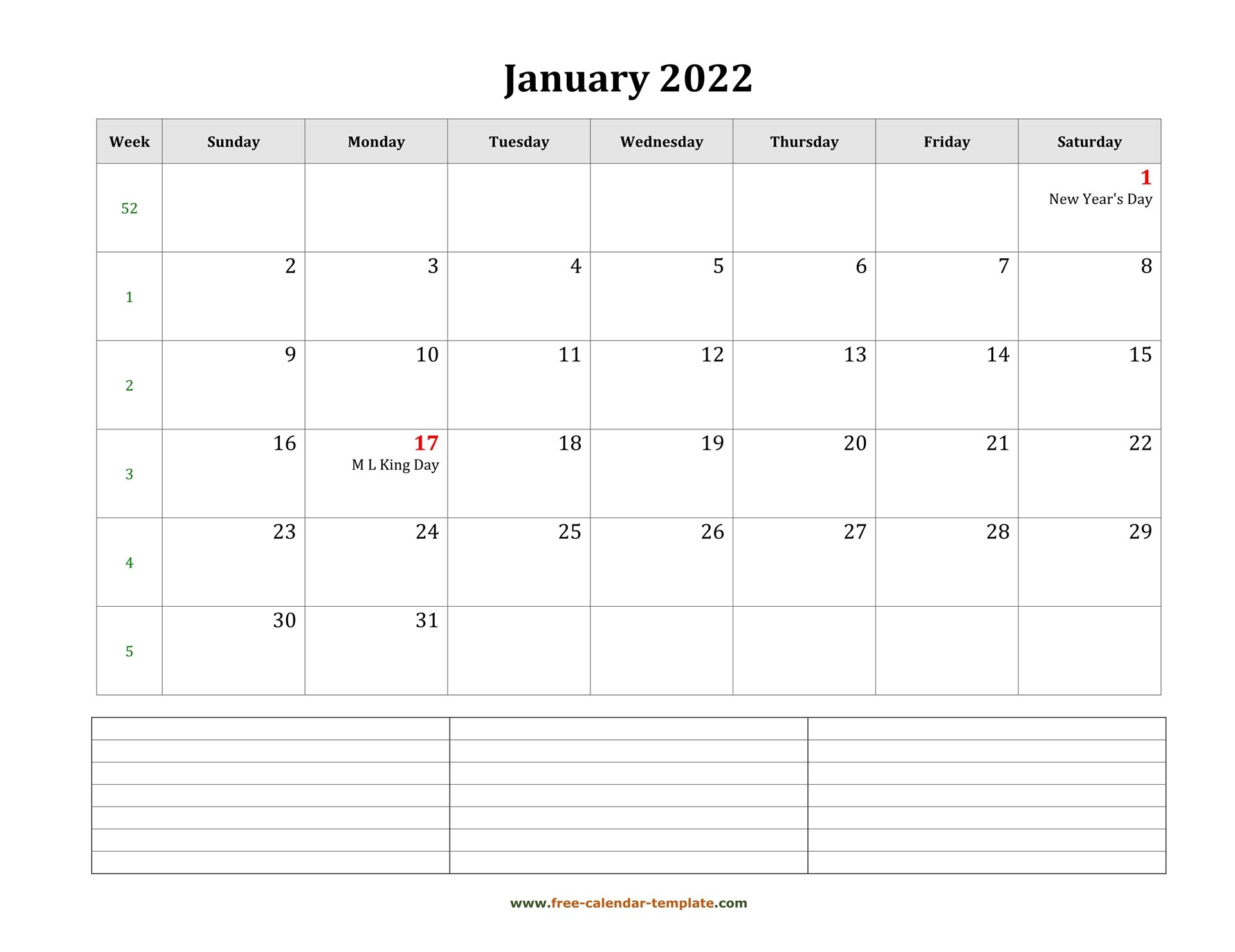2022 Printable January Calendar With Space For intended for Free Printable January Calendar 2022 Photo