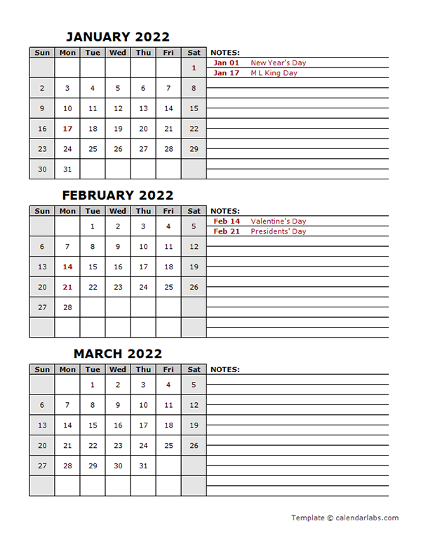 2022 Quarterly Calendar With Holidays - Free Printable in Free Green Printable Daily Planner 2022 Pdf Image