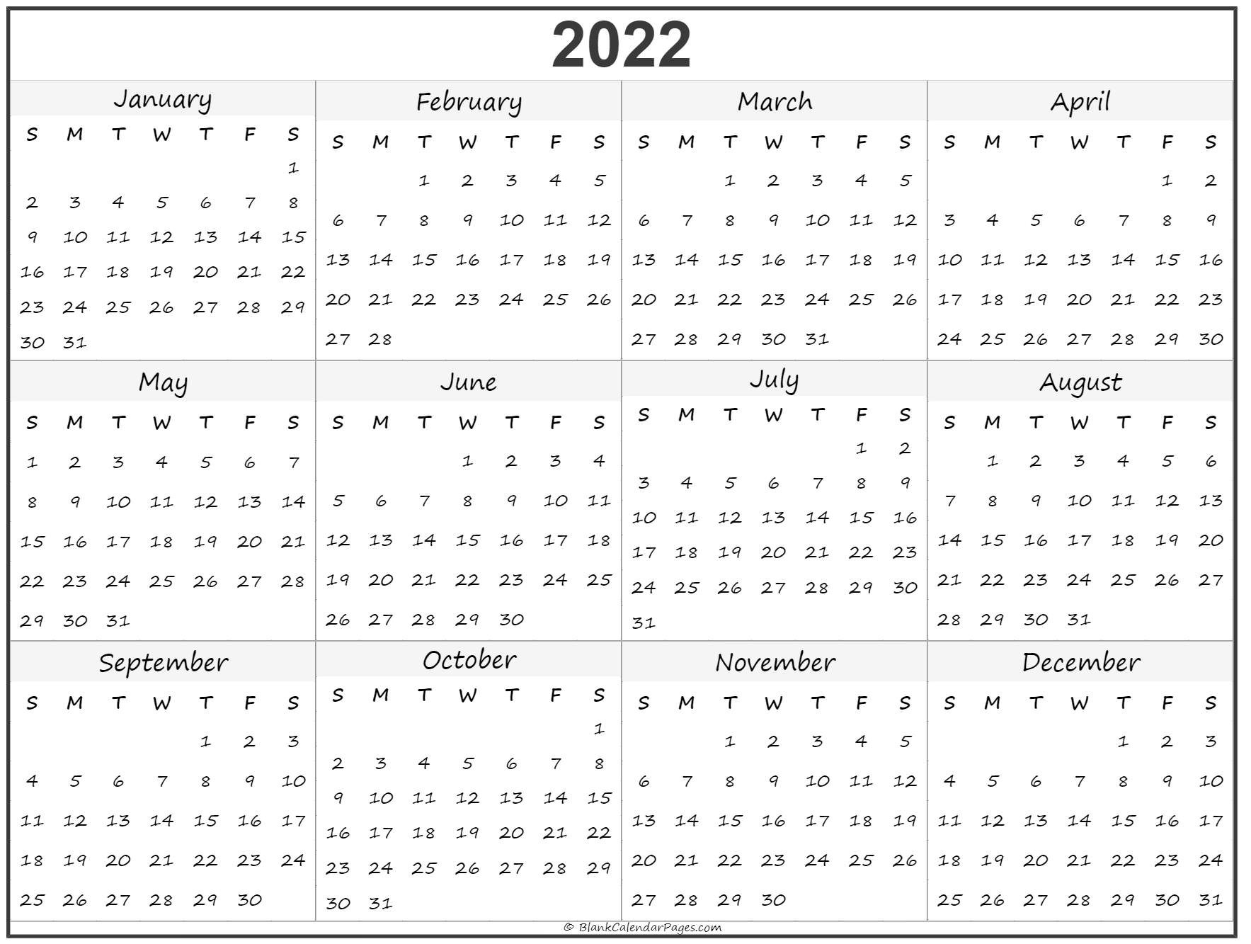 2022 Year Calendar | Yearly Printable throughout Free Printable 2022 September Calendar