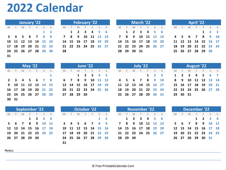 2022 Yearly Calendar inside Yearly Planner 2022 Printable Free Photo