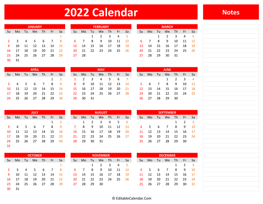 2022 Yearly Calendar With Notes pertaining to Free Green Printable Daily Planner 2022 Pdf Image