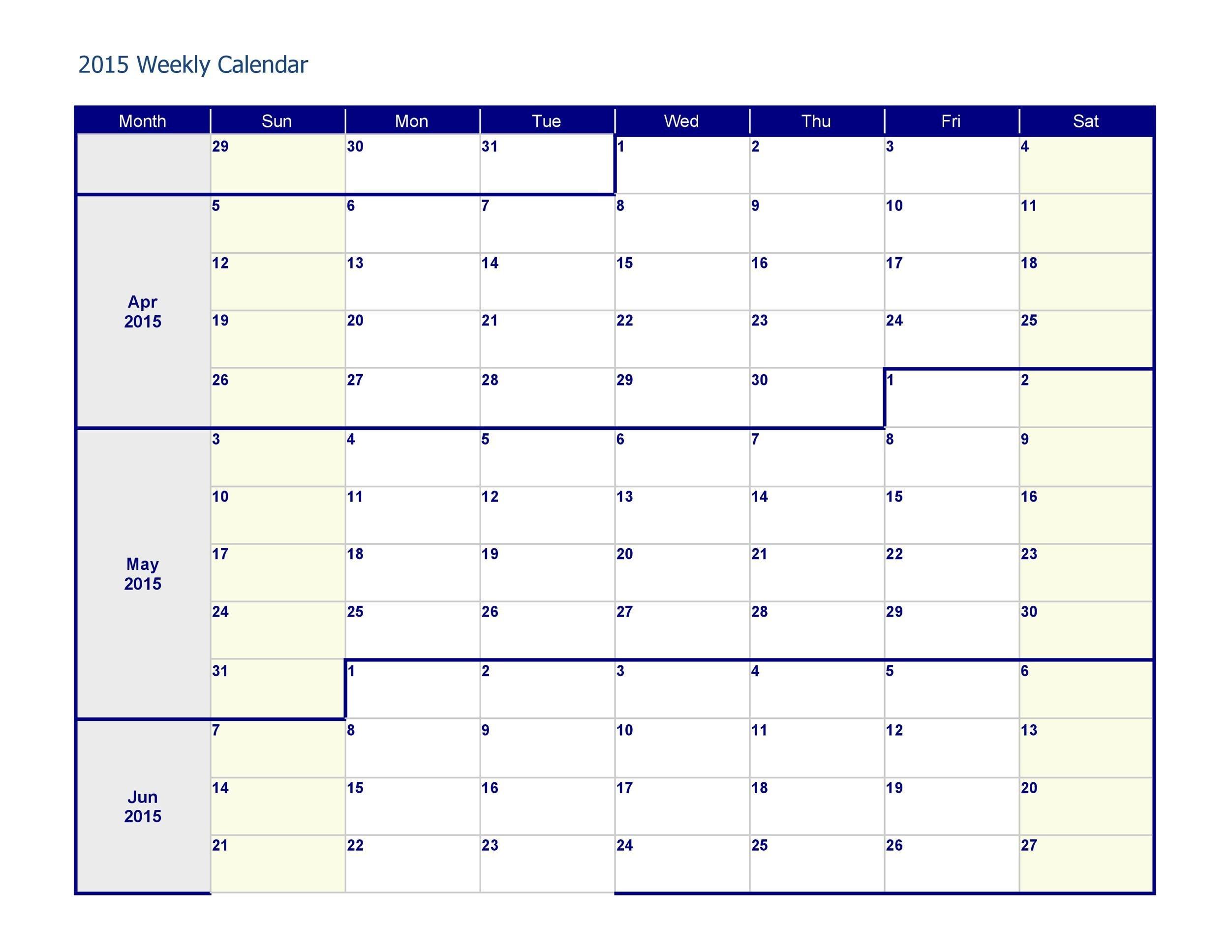 26 Blank Weekly Calendar Templates [Pdf, Excel, Word in Printable Weekly Planner Template Graphics