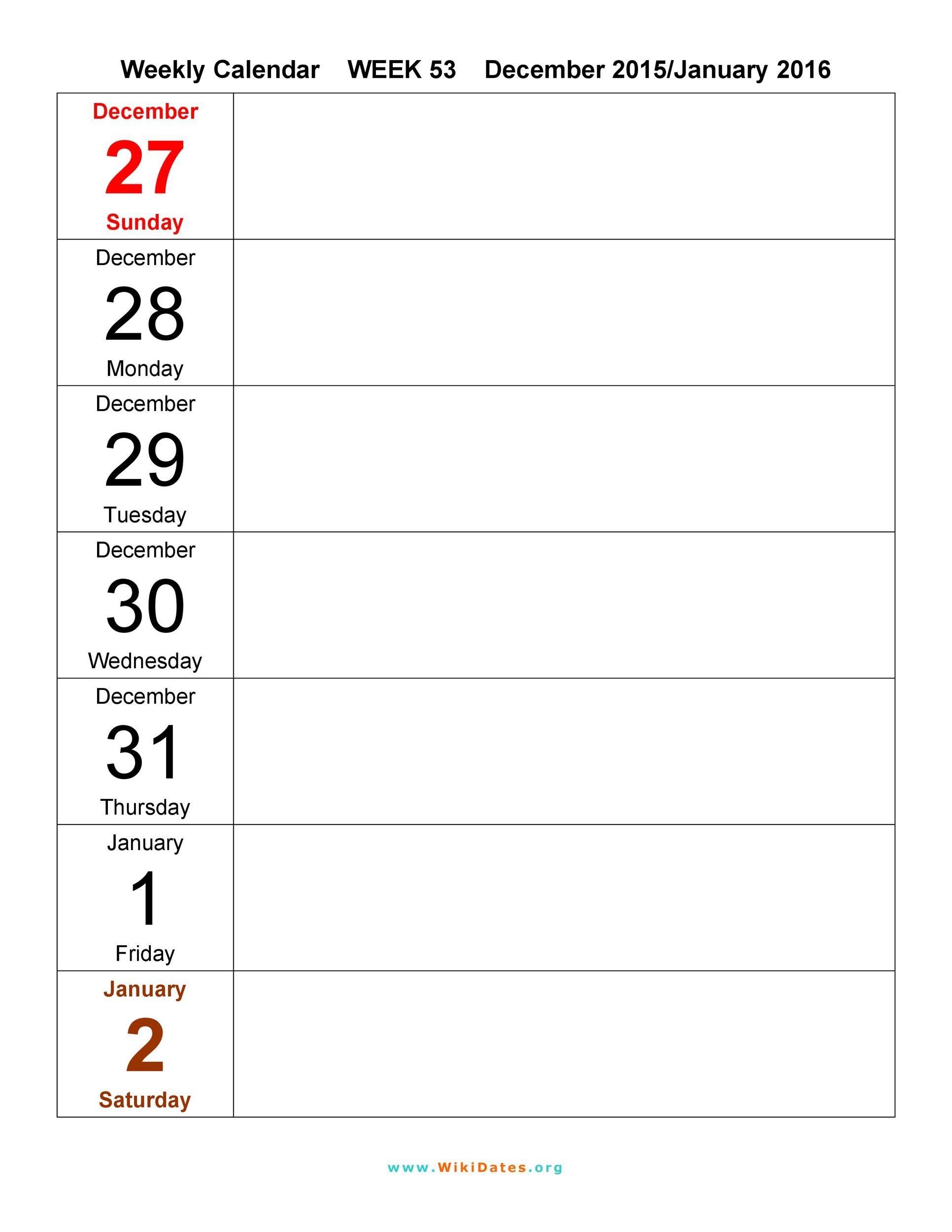 26 Blank Weekly Calendar Templates [Pdf, Excel, Word inside Printable Weekly Planner Template