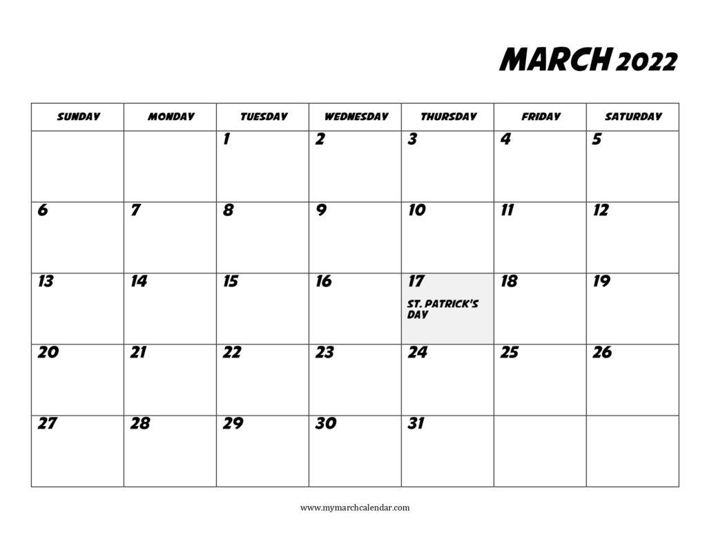 30+ March 2022 Calendar, March 2022 Blank Calendar inside March 2022 Calendar Template