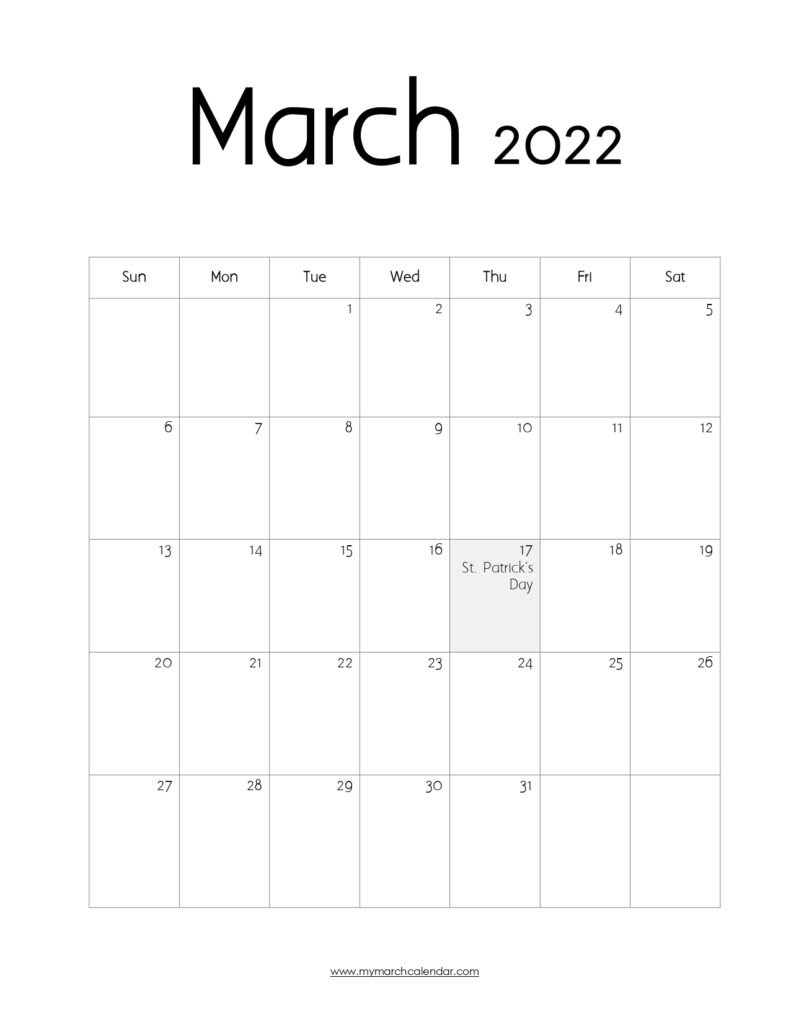 30+ March 2022 Calendar, March 2022 Blank Calendar intended for March 2022 Calendar Printable