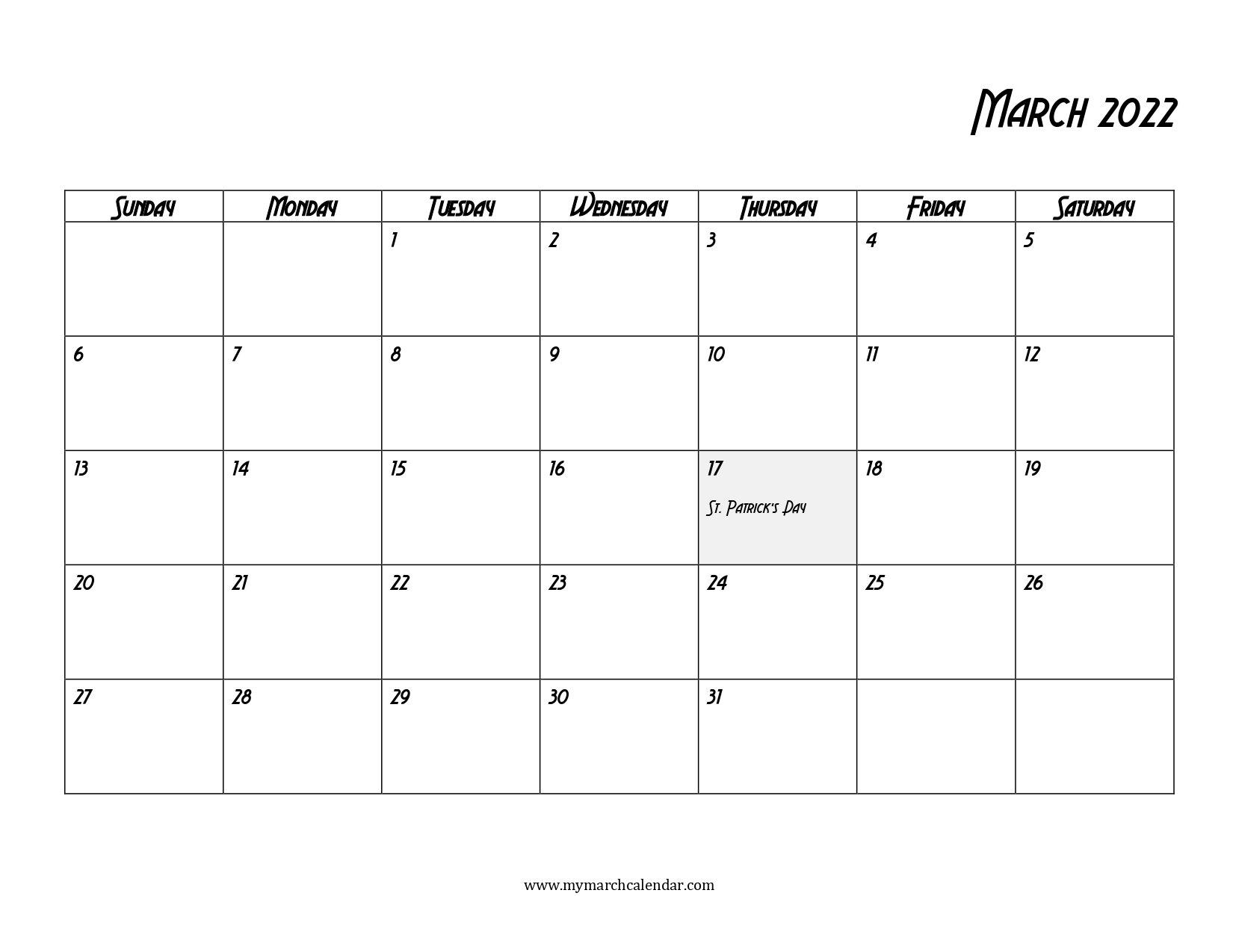 30+ March 2022 Calendar, March 2022 Blank Calendar pertaining to March 2022 Calendar Printable Photo