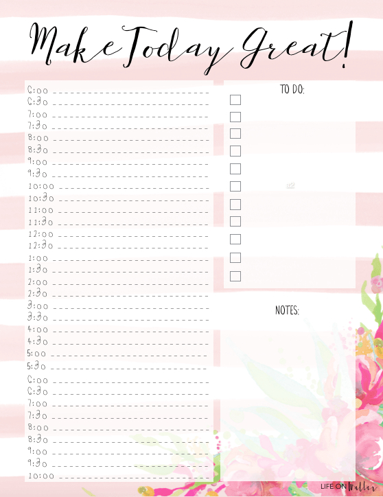 4 Free Printable Floral Daily & Weekly Planner Pages throughout Weekly Planner Printable Free
