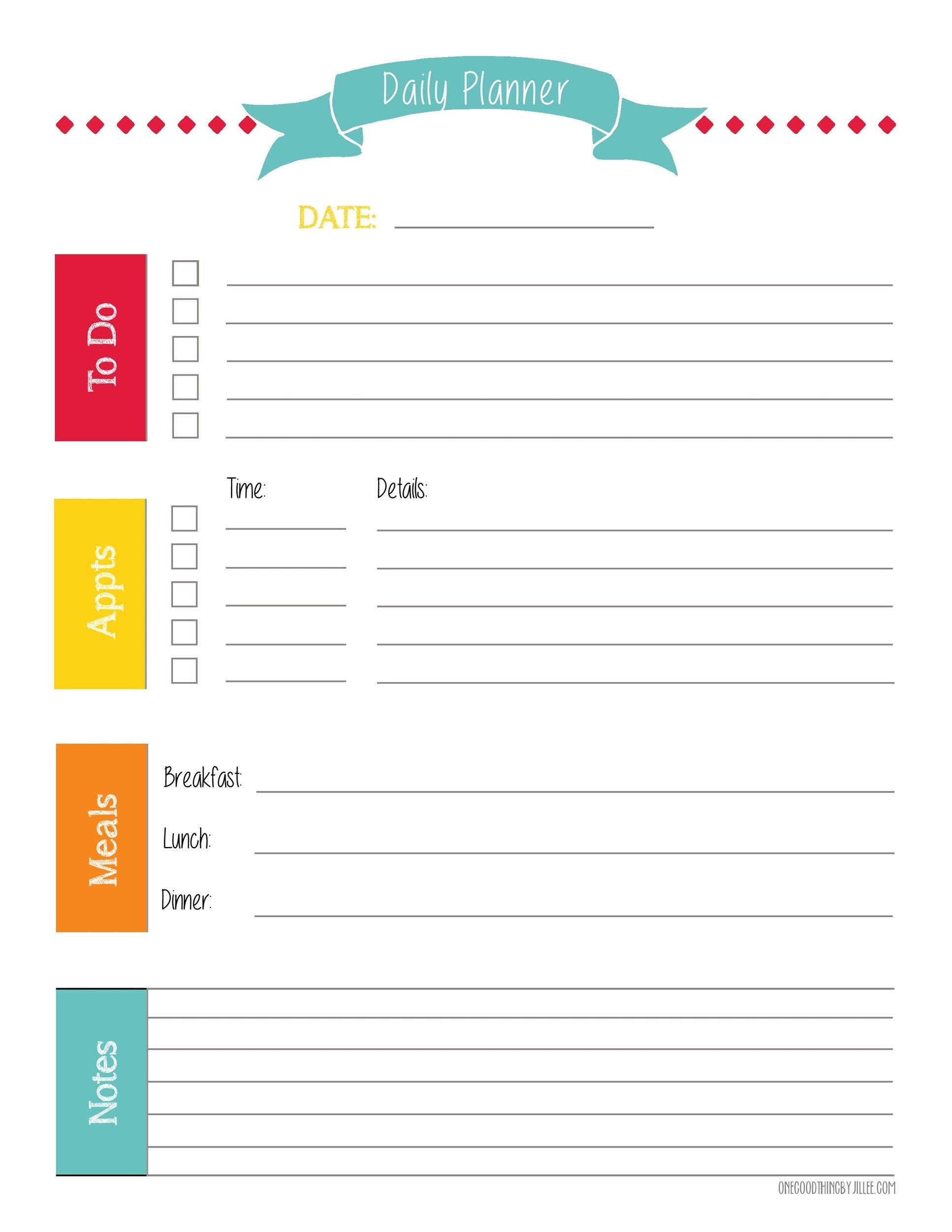 47 Printable Daily Planner Templates (Free In Word/Excel/Pdf) for Free Weekly Planner Template