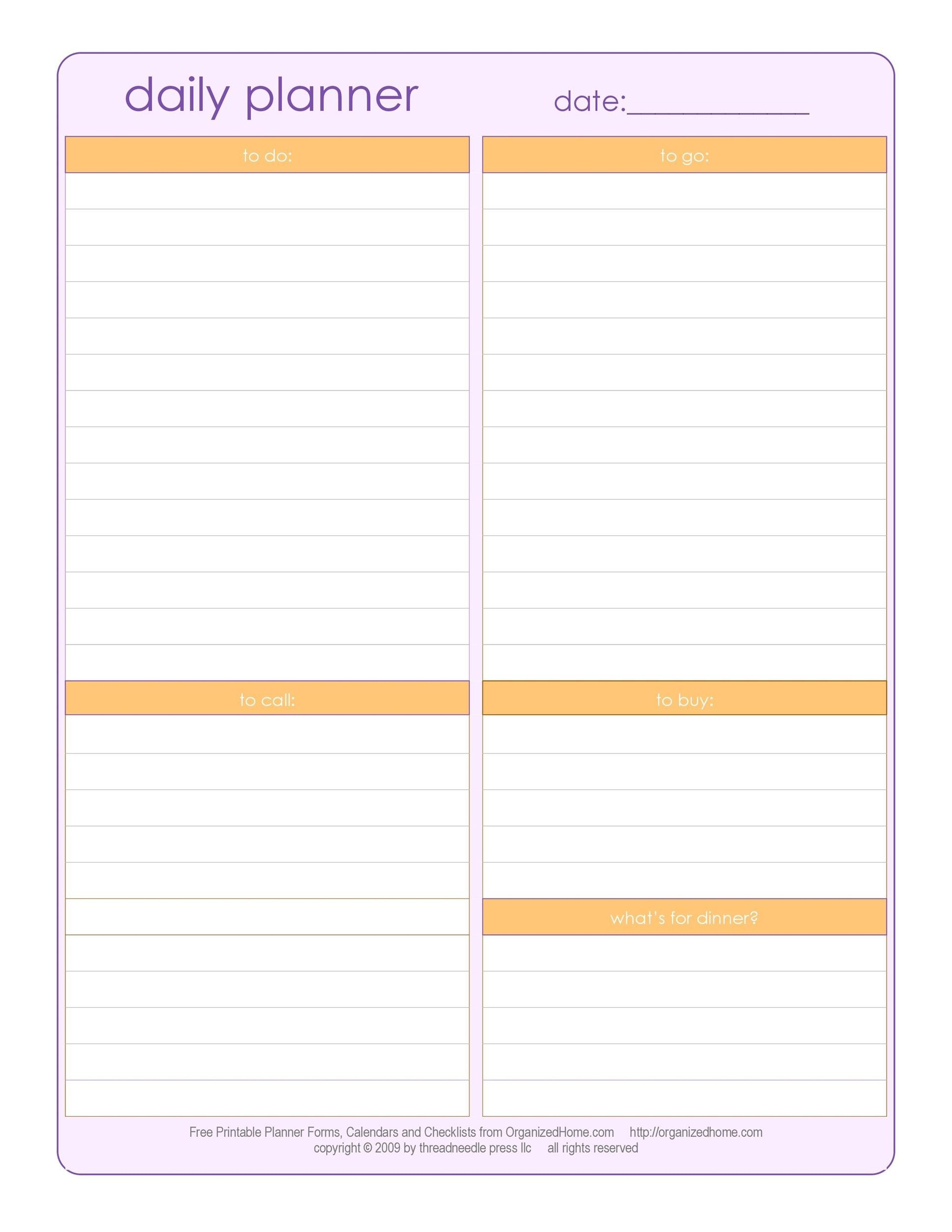 47 Printable Daily Planner Templates (Free In Word/Excel/Pdf) inside Free Weekly Planner Printables Graphics