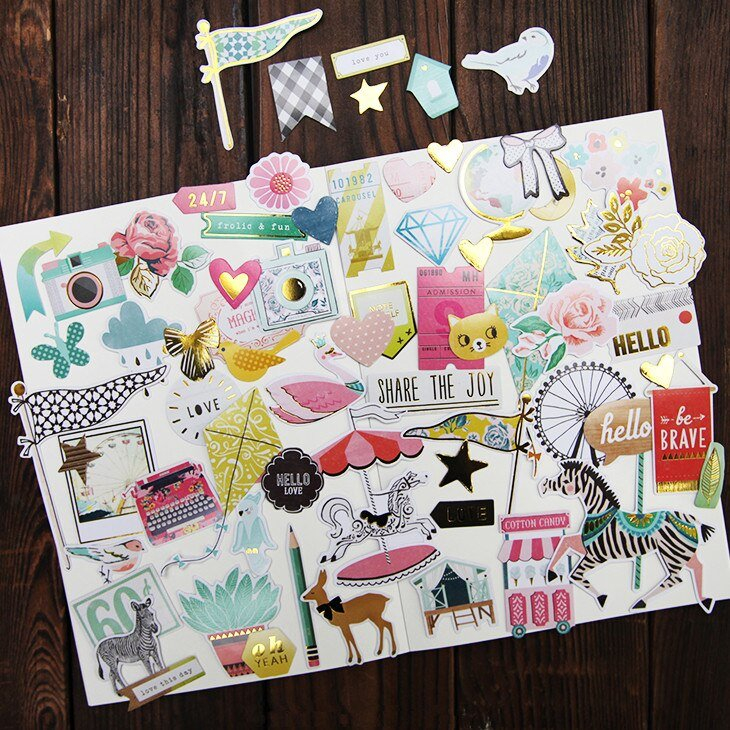 70Pcs Carriage Series Stickers Scrapbooking Happy Planner in The Happy Planner Journaling Stickers Image