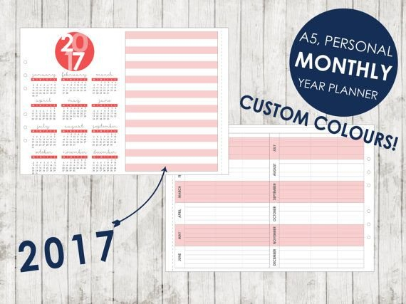 A5 2019 2020 2021 2022 2023 Monthly Year Planner | Etsy with 2022 Planner Printable A5 Diy Photo