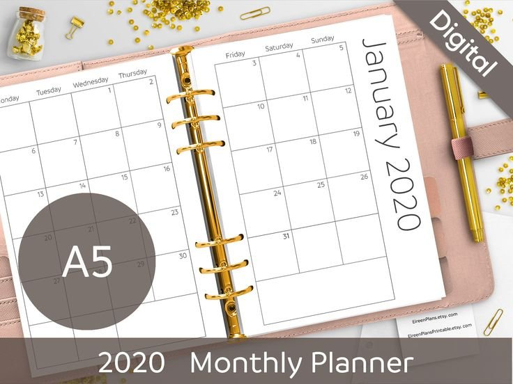 A5 2022 Monthly Planner Printable Inserts Minimalist in 2022 Planner Printable A5 Diy Photo