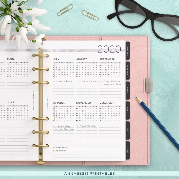 A5 3-Year Calendar 2020 2021 2022 | Year At A Glance with 2022 Planner Printable A5 Diy